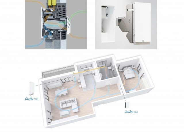 Decentralizovaná ventilačná jednotka freeAir 100 pre vetranie bytových domov.